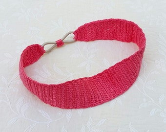 Crochet headband in coral pink / perle cotton / women's headband / crochet hair accessory