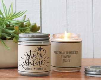 Stars Can't Shine Without Darkness Soy Candle Gift - Get Well Gift | Cheer up Gift | Accident Gift | Condolence Gift | Surgery Gift