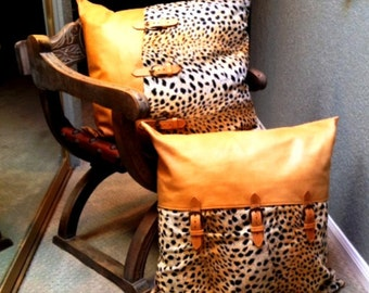 Vintage Luxury Retail Boutique LEATHER & CHEETAH PILLOWS -- Highest Quality  Synthetic Fur --