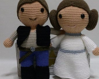 Princess Leia + Han Solo Star Wars amigurumi dolls