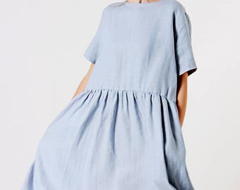 Linen Dress,  Bluish Grey Linen Dress, Ruffle Waist Linen Dress, Linen Dresses for woman, Linen Summer Dress, Linen Tunic Dress