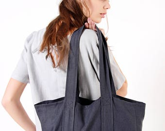 Charcoal Linen Tote bag, Tote Bag with Two Pockets, Shoulder Bag, Linen Market Tote, Natural Softened Linen Bag, Linen Tote