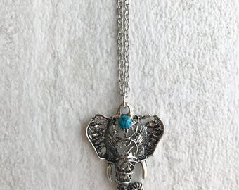 Silver elephant head bohemian necklace