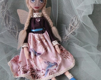 Primitive doll OOAK primitives art cloth fabric dolls cottage chic country decor housewarming gift shelf sitter fairy charming  goth doll