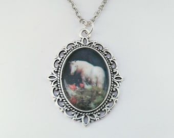 Unicorn cabochon necklace | Unicorn pendant | Grunge style necklace | Fairy jewelry | antique silver