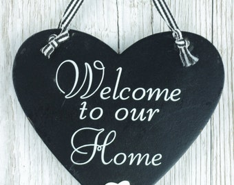 Home Heart Black & White Plaque Wall Sign Welcome To Our Home F0605