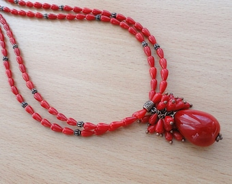 Red coral necklace summer jewelry beach jewelry red necklace red jewelry corals beach necklace coral jewelry red stones boho necklace jm