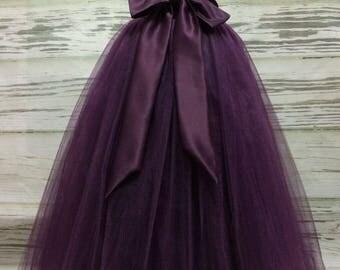 Custom Made Girls Eggplant/Plum Floor Length Tulle Skirt  With Sash for Flower Girl,Country Wedding,Rustic Wedding for Flower girl