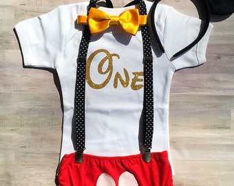 Mickey Mouse First Birthday Outfit / Mickey Mouse Shirt Boy / Mickey Mouse Romper and Suspenders / Mickey Mouse Diaper Cover and Bow Tie