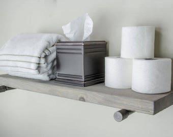 Floating Shelves | Industrial Floating Shelf | Gray Shelves | Rustic Shelves | Kitchen Shelf | Farmhouse Decor | Bathroom Shelf
