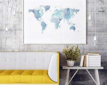 World Map Watercolor World Map | Large World Map Large | World Map Poster | Large Wall Art | World Map Wall Art | World Map Print World Map