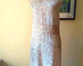 Dress Nude champagne velvet dress / / new year Semi transparent / / sixties / / style twenties / / Flapper / / low waist / / guest wedding