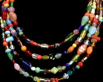 Multi Colored Glass Beaded Necklace.