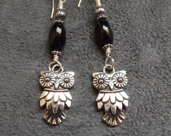 Silver Owl Earrings with Jet and Silver