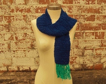 Navy & Teal Scarf, Hand Made Scarf, Crochet Scarf, Mens Scarf, Ladies Scarf, Australian Made