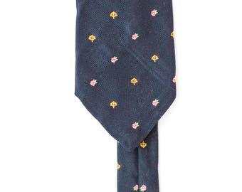 vintage mens tie | navy necktie | skinny tie | casual tie | made in canada | flower tie | minimalist | rathbone & company | fathers day gift