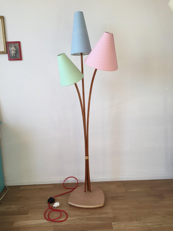 50er jahr stehlampe holz vintage 50s style flurlampe leselampe. Black Bedroom Furniture Sets. Home Design Ideas