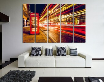 Large Wall London Canvas Color Call-Box Color London Multipanel Canvas Night London  Art Large  1-3-4-5 Panel London Print