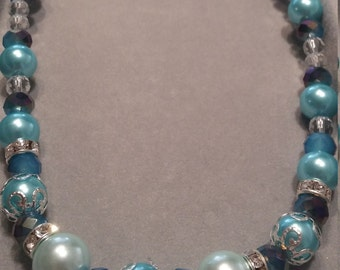 Aqua Pearl Glass Beaded Necklace