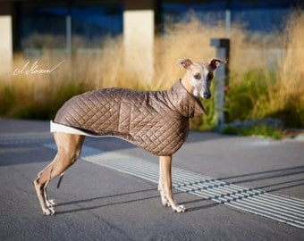 Quilted whippet coat - light brown + white