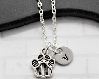 Paw Print Necklace - Animal Lover Gift - Puppy Paw Necklace - Dog Paw Pendant - Animal Paw Necklace