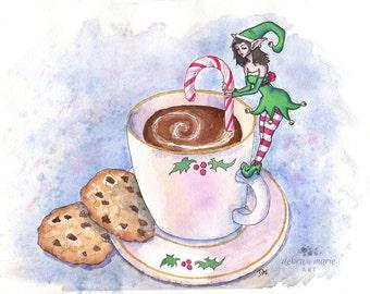 Elf Art Print // Watercolor christmas, Christmas wall art, Candy canes, Christmas gift, Candy cane print,