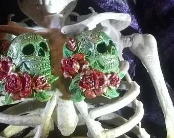 "Handmade & Painted ""Louis"" Sugar Skull Tattoo Roses Gothic Muerto Earrings"