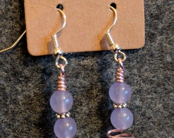Wire Wrapped Lavender, Pink & Silver Dangle Earrings