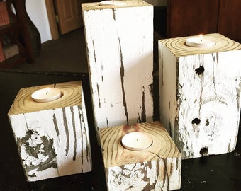 Horse Jumps, Reclaimed Wood Candle Holder, Pillar Candle Holder Set, Horse Candle, Horse Gifts, Wood Pillar, Rustic Farmhouse Decor,Set of 3