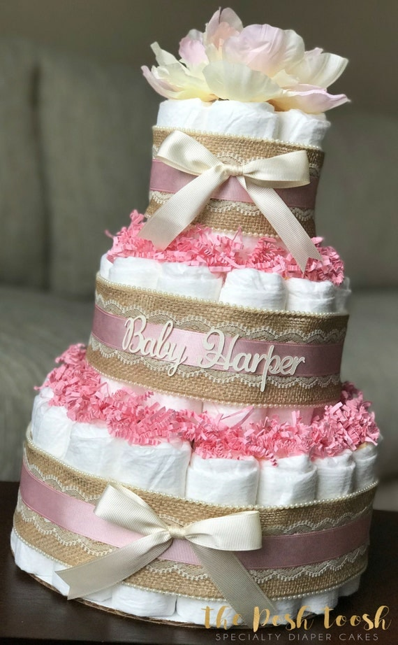 Items similar to floral diaper cake baby shower