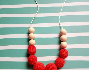 Roses Are... Red Crochet Wooden Bead Necklace, Red Beads, Red Bead Necklace, Crochet Necklace, Wooden Necklace, Wooden Beads