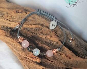 Fertility Bracelet, with High Grade Moonstone, Rose Quartz & Smokey Quartz, Wish Charm, Jewellery - TTC IVF GIFT Yoga Healing  Meditation