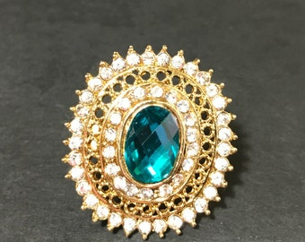 Indian Jewelry - Turquoise Blue and Gold Ring - Statement Jewelry - Fashion Ring - Wedding Jewelry - Kundan Jewelry - Bollywood Jewelry