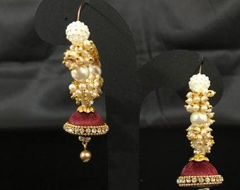 Maroon Silk Thread Earrings - Silk Thread Jewelry - Indian Jewelry - Indian Earrings - Bollywood Jewelry - Kundan Jewelry - Desi Bridal -