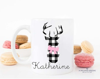 "Coffee Mug The Black and White Gingham ""Deer Head""  Mug / Personalized Coffee Mug / 11oz-15oz Coffee or Tea ceramic mug //Personalized Gift"