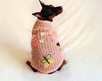 Dog clothes - jacket for dog, small dog sweater, knitted dog sweater, min pin