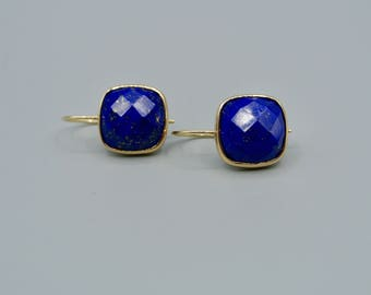 14k gold faceted cushion cut Lapis earring,14k solid earrings, 14k Lapis earrings, 14k solid gold earrings, Lapis Cushion cut earrings,