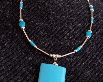 Genuine Turquoise & Silver Statement Necklace