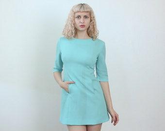 60s Mini Dress // Vintage Baby Blue 1/2 Sleeve 70s Pocket - Medium