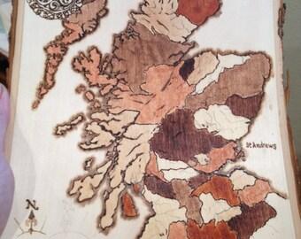 Wood Burned Map of Scotland