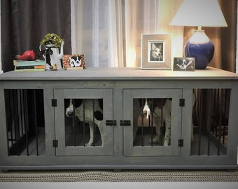 rustic handcrafted furniture custom dog crate kennel double