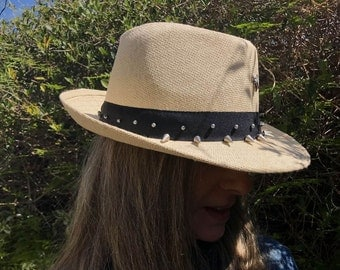 Boho Hat, Panama Hat, Hat with Spikes, Women's Panama Hat, Summer Hat, Fedora Hat, Straw Hat, Sun Hat, Beach Hat, Cool Hat, Festival  Hat