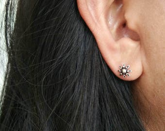 Silver Boho Stud earrings - 925 Sterling Silver Flower Post Earrings - Tribal Flower earrings - Floral Earrings - Tiny Studs - Cartilage