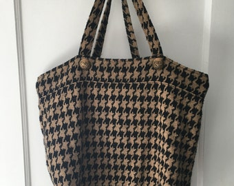 Handmade Houndstooth Tote Bag with Vintage Gold Buttons