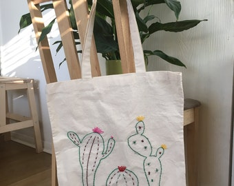 Cactus Hand Embroidered Natural Cotton Shopping Tote Bag