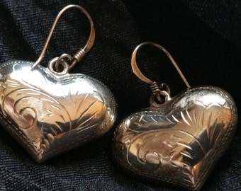 Vintage SS Puffy Heart Earrings Etched 80's .925 Sterling Silver