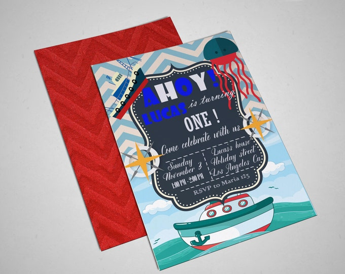 Ahoy invitation birthday invitation sea invitation free thank you card printable invitation boy invitation party invitation birthday party