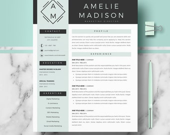 Professional CV Template for Ms Word and Pages; Creative resume template; Resume templates design, modern CV, curriculum | Instant Download