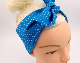 Dolly Bow Headband Polka Dots Turquoise White Head scarf Pin up Headband 50's Fifties Hairband Knot light-blue  Rockabilly Headband