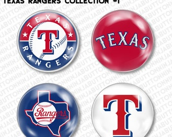 Set of 4 Mini Pins / Buttons - TEXAS RANGERS arlington dallas baseball mlb (choose your style!)